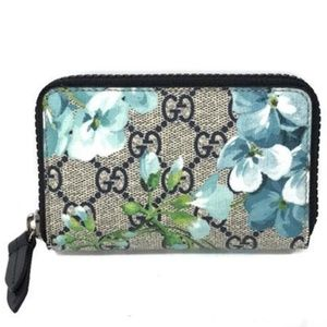 Gucci GG Supreme Bloom Zip Wallet Card Case Clutch